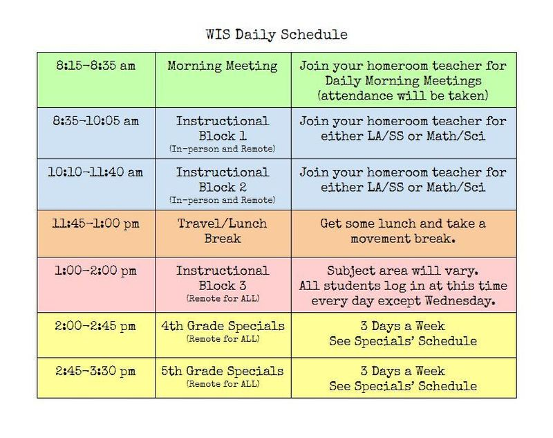 Updated (5/10) Daily Schedule
